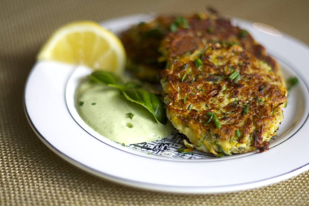 Zucchini Fritters with Lemon Basil Cashew Cream- Vegan + Gluten Free